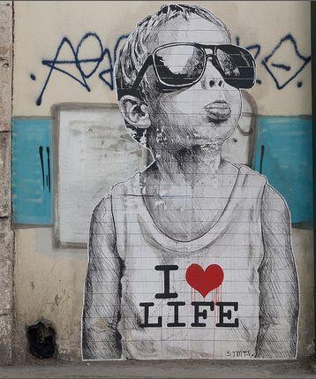I love life by Γκάελ | Athens, Greece street art