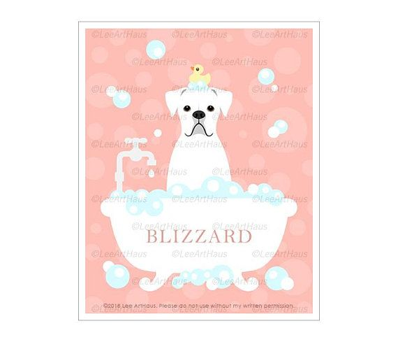 83n Girls Room Wall Art Personalized White Boxer Dog In Bubble