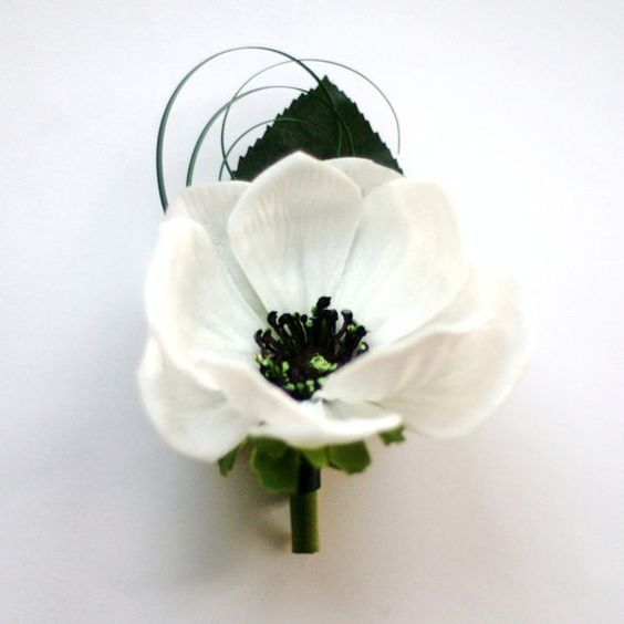 Real Touch Anemone Boutonniere/button hole white black anemones for groomsmen by GlamFloral, $13.50