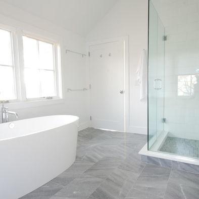 modern white bathroom floor tile