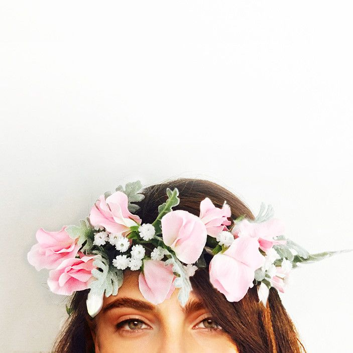 This crown is handcrafted with sweetpea, baby breath and dusty miller leaves.  Perfect for your engagement, bridal shower or hen's night; you can wear it confidently knowing it won't wilt or fall apart throughout the day. We love that you can wear it again after your special event or keep it as a treasured memento