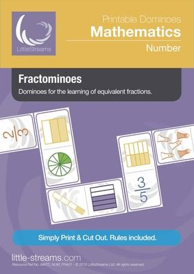 Fractominoes | Dominoes for Learning Equivalent Fractions from LittleStreams on TeachersNotebook.com -  (13 pages)  - This is a simple and professionally constructed game of dominoes. It couldn't be simpler, link up a chain of dominoes by joining equivalent fractions. Includes both fractions of shapes and amounts.