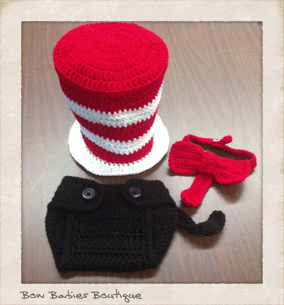 Crocheted Dr Seuss Cat in the Hat Photo Prop  by BowBabiesBoutique, $35.00