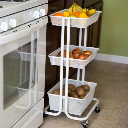 Wire Storage Cart For Kitchen Produce Perfect For