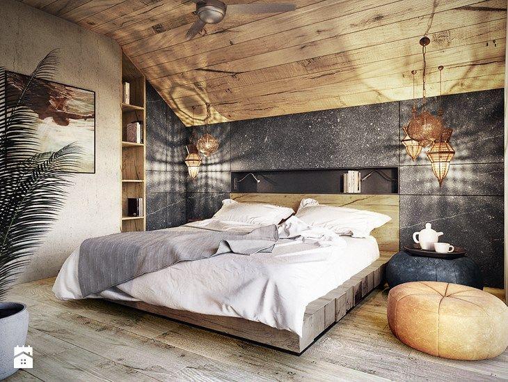 Bielsko - Biała - Średnia sypialnia małżeńska na poddaszu, styl nowoczesny - zdjęcie od razoo-architekci