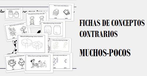 Conceptos contrarios, Fichas para trabajar y colorear conceptos opuestos: Muchos y pocos
