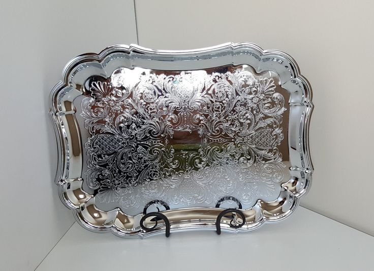 Glo-Hill Gourmates Chrome Plated Oval Serving Platter/Tray Etched, Ornate Design by RetroEnvy21 on Etsy