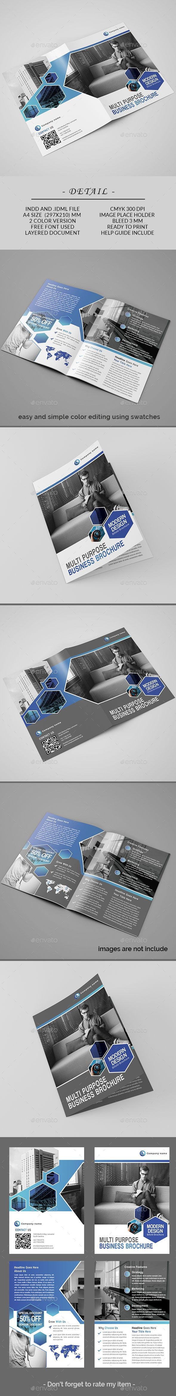 Bifold Brochure Bi-fold Brochure template, Can use for any personal or corporate, Very easily to edit, Very easy to adapt and customize, with help file included. Detail Bi-fold Brochure      4 pages     2 colour version     indesign files (.indd and .idml)     CMYK Color Mode     300 DPI Resolution     Size A4     3 mm Bleed in Each Side