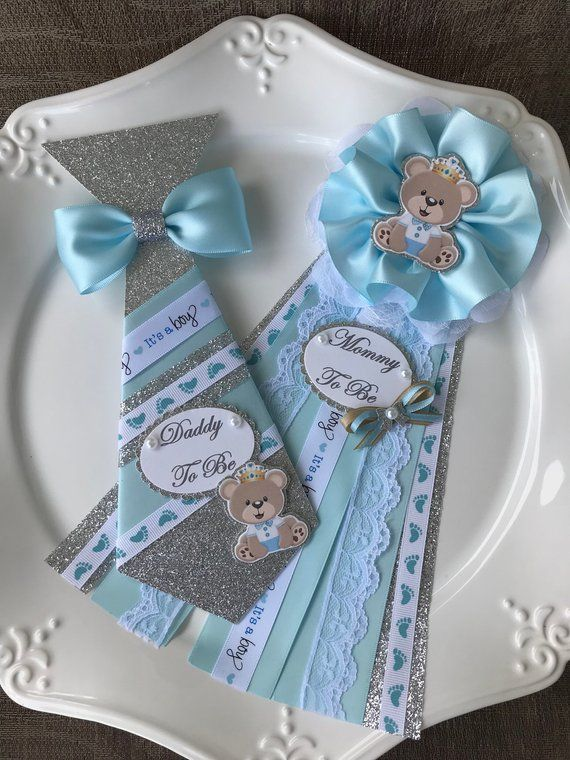 Teddy Bear Baby Shower Corsage Set Light Blue And Silver Teddy