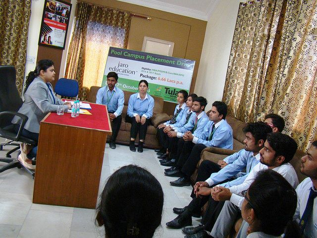 Tula's Institute Engineering Colleges in Dehradunplacement drive of Jaro Education Placement. Group discussion round where employer check the confidence level and communication skills.