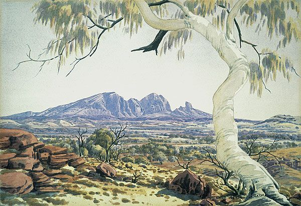 Albert NAMATJIRA, not titled [Ghost Gum, Mt Sonder, MacDonnell Ranges].