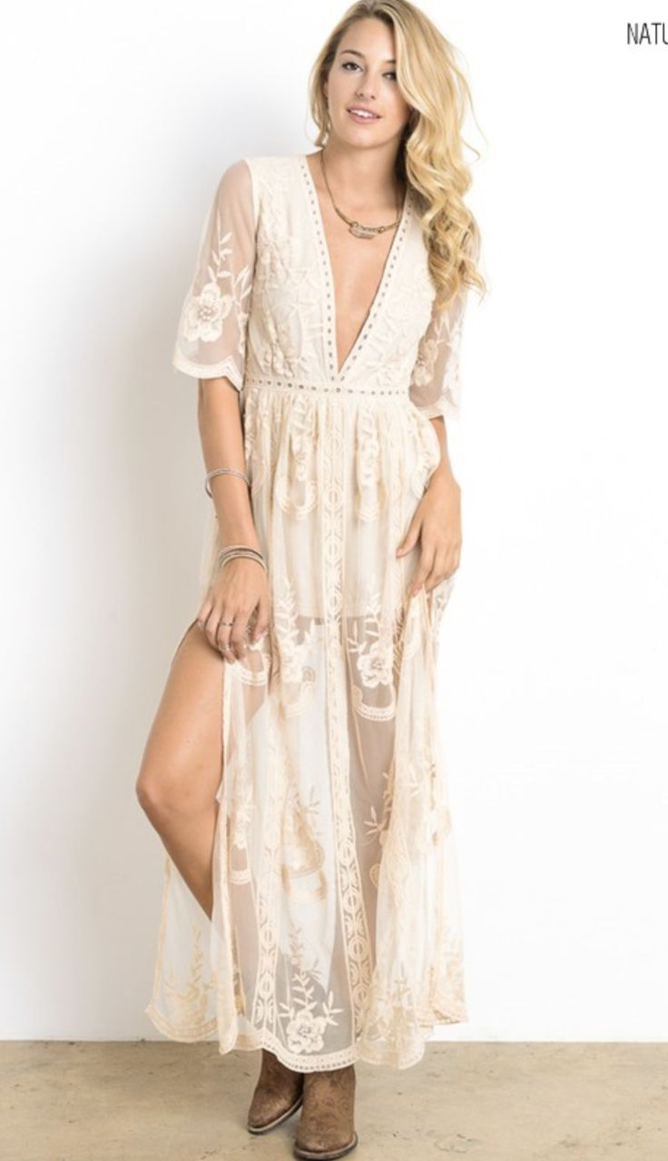 - Gorgeous embroidered lace maxi dress - Plunging V neckline - Scalloped trim - Side slits - Zipper back - Non-stretch lace - Lined neckline and shorts underneath - Available in Natural or Sage - 100%