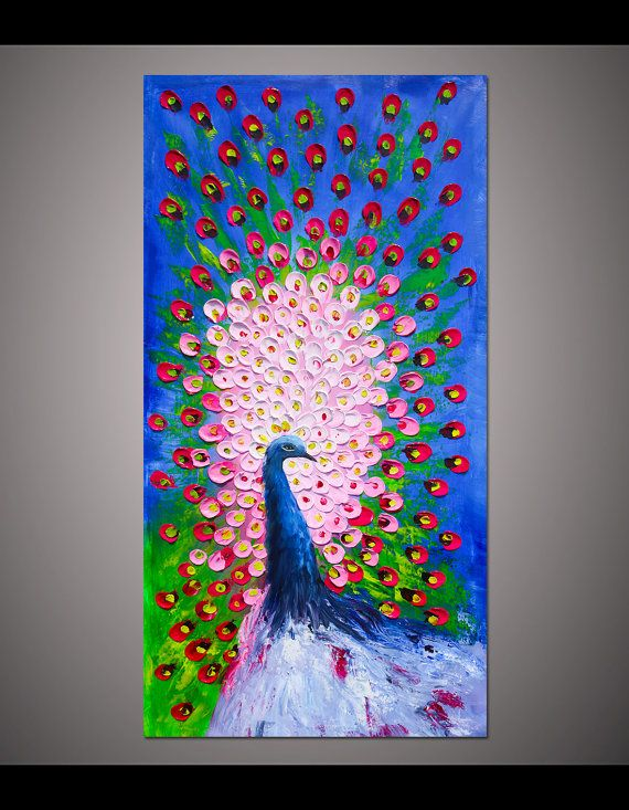 Hand-painted big size Red Pink Blue Peacock Flower thick palette knife oil painting on canvas for living room bedroom wall decor art By Lisa