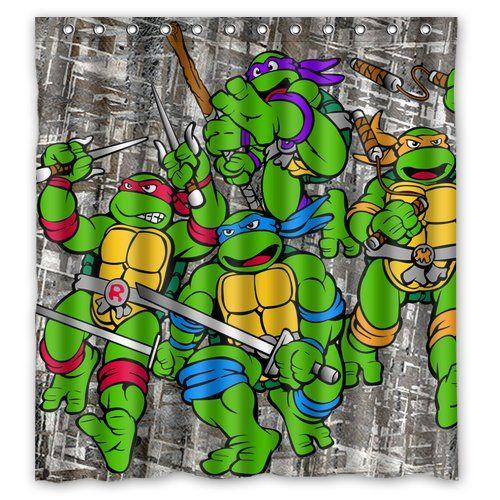 Abchomes Fashion Coolest Green Age Mutant Ninja Turtles Bath Shower Curtain 66 By 72 Inch Boys Bathroom Turtle Room