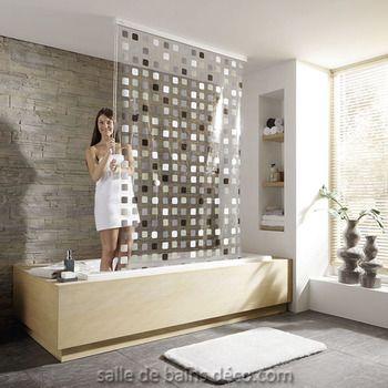 Mosaique gris - Rideau de baignoire