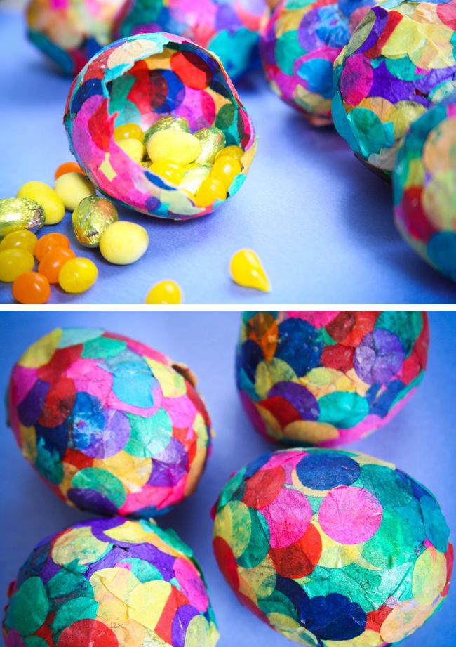How to Paper Mache Eggs with Confetti. I found this better than wasting real eggs for the same outcome