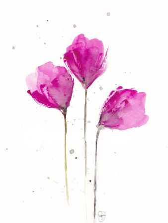 flowers.   pink.   water colour.
