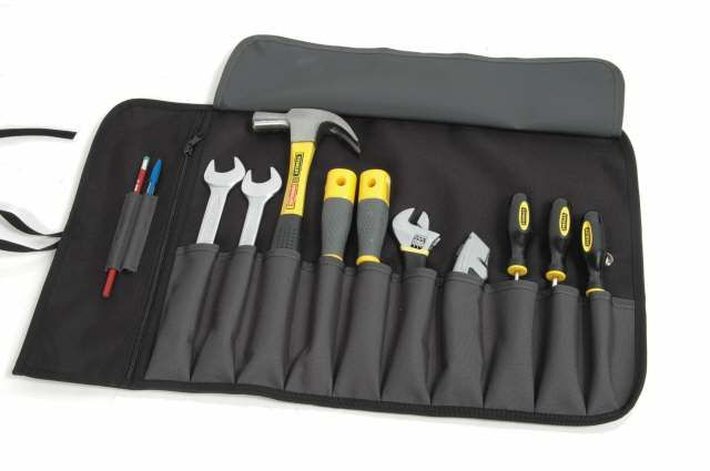 little tool roll (not this one!) screwdrivers allen keys, drift, small hammer, snub & needle pliers, small adjustable.