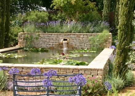 Raised Stone Pond With Dry Stone Walls And Coping Stones   Award Winning  Garden By Claudia De Yong Designs, UK.