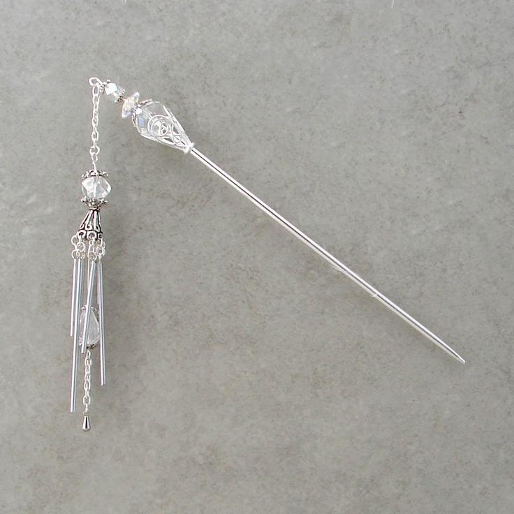 Hair Stick Miniature Crystal Wind Chime Geisha Kanzashi Dangle Sticks Clear Hairstick Chopsticks Haar Chrissy 2360