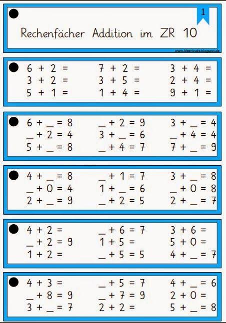 Rechenfächer zur Addition im Zahlenraum bis 10