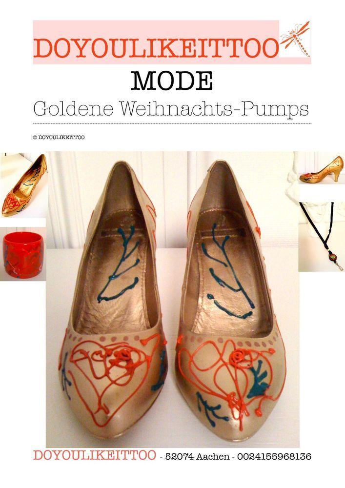 Goldene Weihnachts-Pumps,7cm,Größe 37, Motive in Rot und Grün; Leder innen+außen in Kleidung & Accessoires, Damenschuhe, Pumps | eBay!