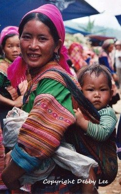 Flower H'mong Mother and Baby, Vietnam.