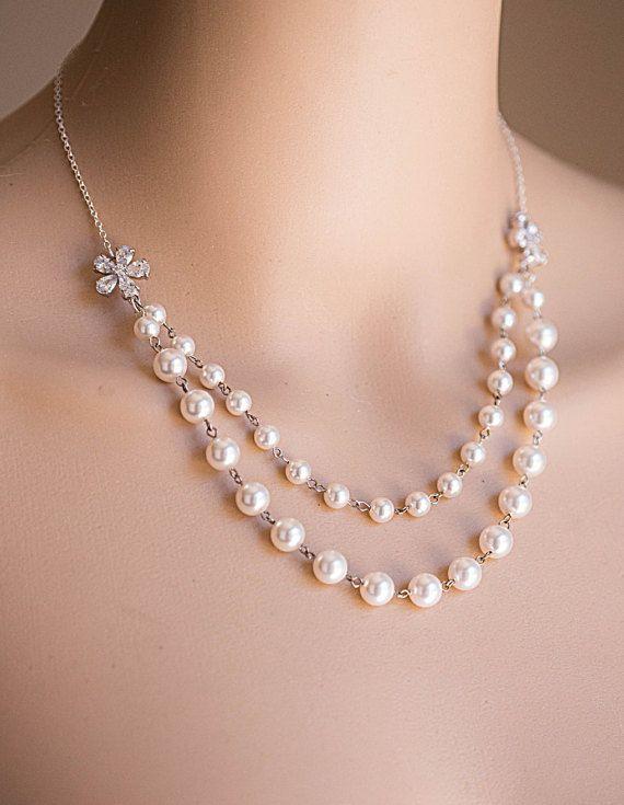 Swarovski Pearl Necklace .Bridal,Bridesmaids jewelry   VALENTINA