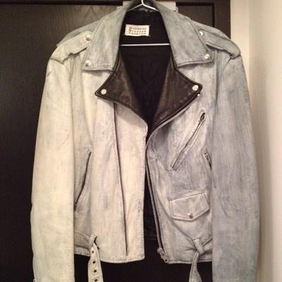 MAISON MARTIN MARGIELA 0 10 Painted Biker Leather Jacket