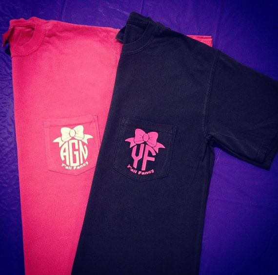 Y All Fancy Custom Monogrammed Pocket Tee Short Sleeve T