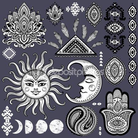 Солнце, Луна и украшения Винтаж Векторный набор — стоковая иллюстрация #83069622