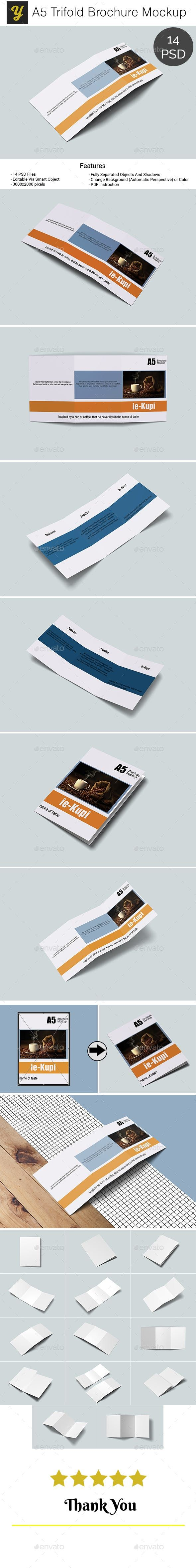 Download A5 Trifold Brochure Mockup By Yellowgold Graphicriver Buy Only 9 Or Subscribe Unlimited Graphic Item Web Brochures Mockups Trifold Brochure Brochure Print