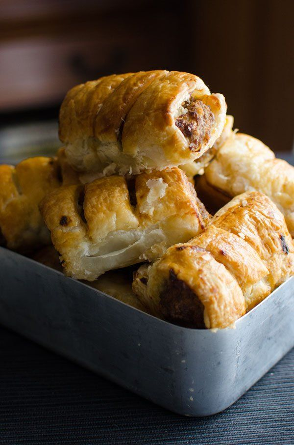 Homemade sausage rolls with golden flaky pastry.