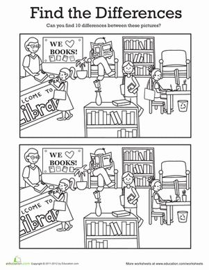 This fun coloring page comes with a twist! While coloring, see if you and your child can find the differences between the two library pictures.