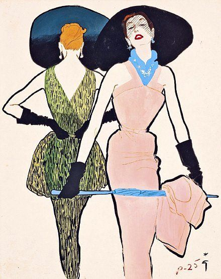 The Blue Parasol,  by Renè Gruau, ca. 1950,  Vintage fashion illlustration