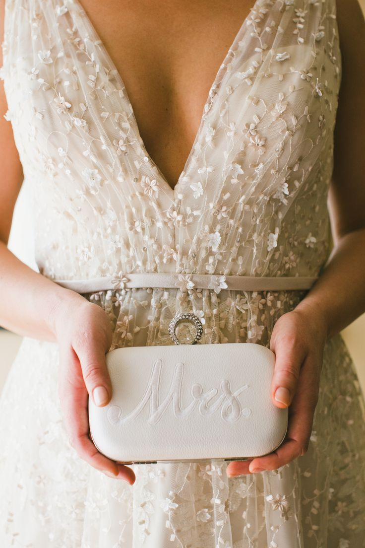 Engraved Mrs. wedding clutch: Photography: One Love