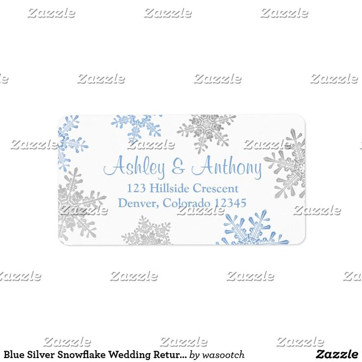 Blue Silver Snowflake Wedding Return Address Label Silver grey, lapis blue, and white snowflakes winter wedding return address mailing labels to be used for your wedding reply cards, address labels for other special occasions, or just use it as a general mailing address label.