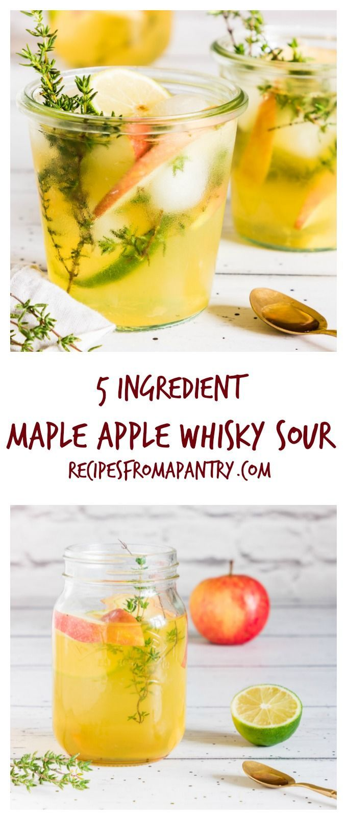 I have triple tested this maple apple whisky sour so you can whip up and drink the best cocktail recipe in town. Try it and see. recipesfromapantry.com #whiskysour #applewhiskysour #maplewhiskysour #thymewhiskysour