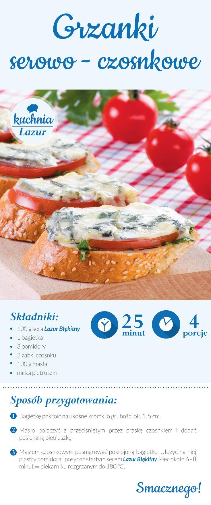 Grzanki serowo-czosnkowe /grzanki /ser /Lazur /ser pleśniowy /rokpol /przepisy /kuchnia lazur