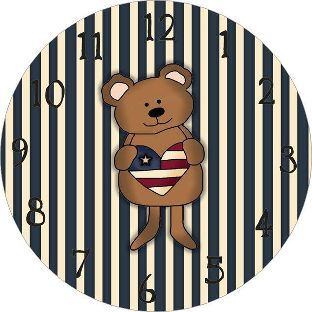 Clock Face with Bear