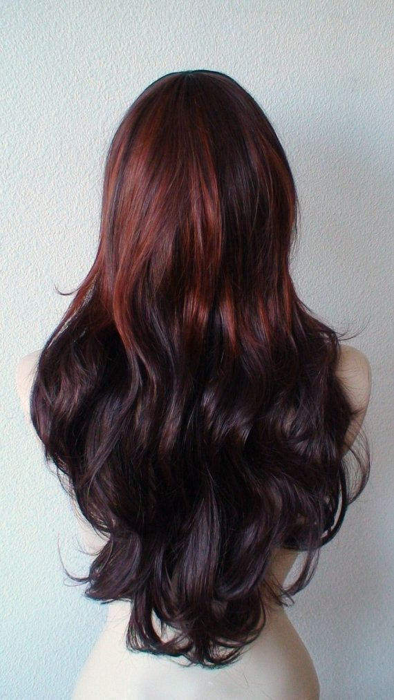 Summer Special // Auburn Ombre colored wig. Long curly ... Black Auburn Ombre Hair