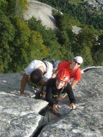 Climbing on Luna Nascente.  Val di mello