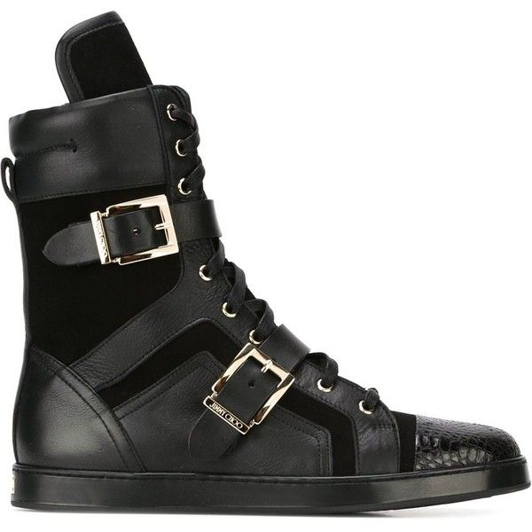 Jimmy Choo Brixen Hi-Top Sneakers ($765) ❤ liked on Polyvore featuring shoes, sneakers, black, black high-top sneakers, black high tops, leather sneakers, leather hi top sneakers and high top sneakers