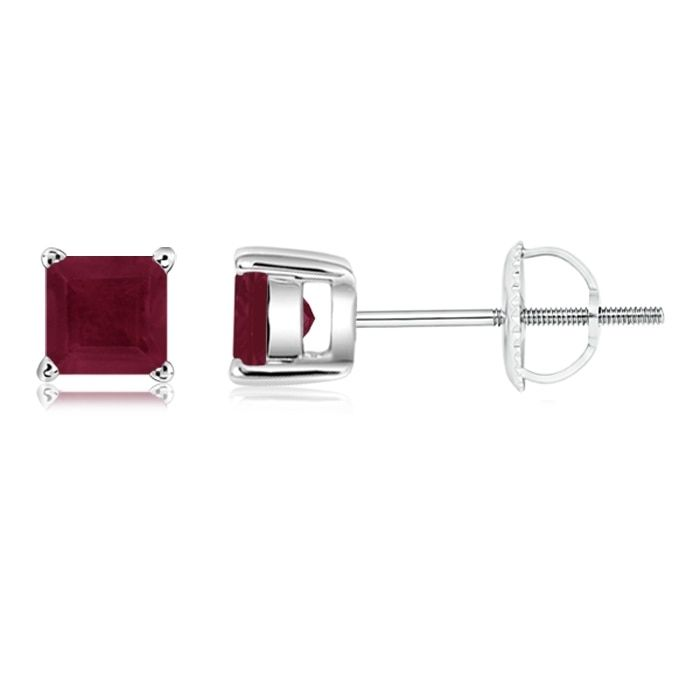 Angara Solitaire Ruby Basket-Set Earrings in White Gold d5E5G