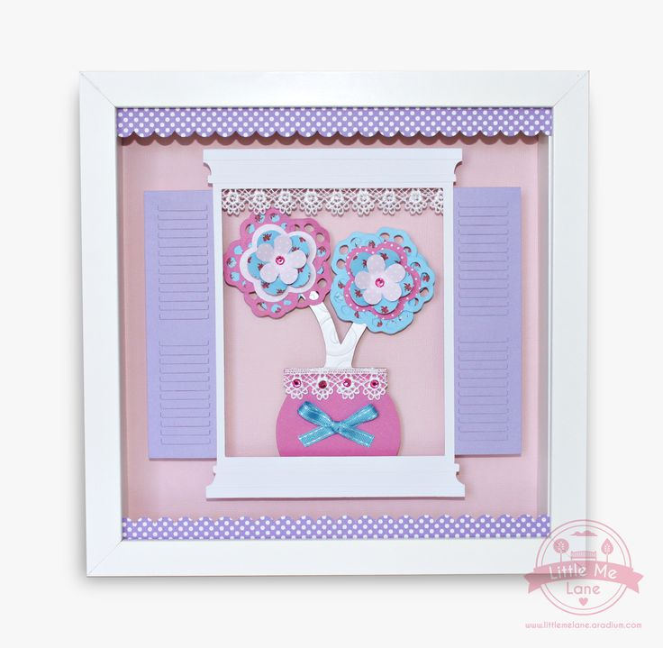 Flower Pot Art - This original handmade artwork features an adorable flower pot framed by a window.  We have layered beautiful papers in pink, purple and aqua together with crystal embellishments and lace to create this truely stunning piece.  To purchase please visit our facebook store https://aradium.com/5ru9a