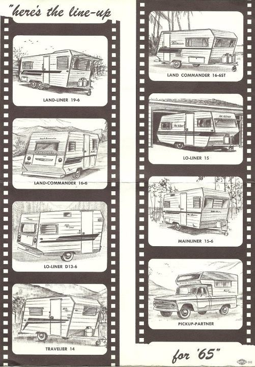 1965 Aristocrat Trailer Models - Land Liner, Land Commander, Lo Liner, Travelier, Mainliner, Pick Up Partner.  Glamper Glamping Camper Makeover Remodel update