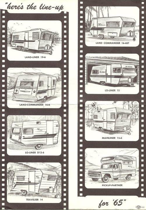 1965 Aristocrat Trailer Models - Land Liner, Land Commander, Lo Liner, Travelier, Mainliner, Pick Up Partner.  Glamper Glamping Camper Makeover Remodel update