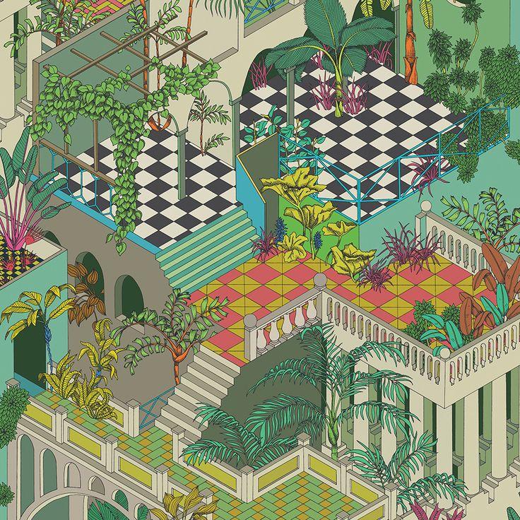 Discover the Cole & Son  Miami Wallpaper - Green & Coral - 105/4017 at Amara
