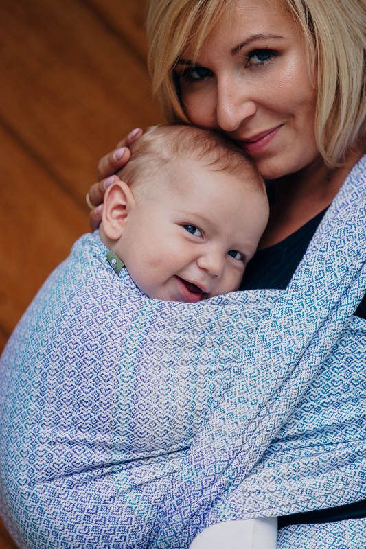 BABY WRAP, JACQUARD WEAVE (60% COTTON, 28% MERINO WOOL, 8% SILK, 4% CASHMERE) - LITTLE LOVE - SUMMER SKY - SIZE M