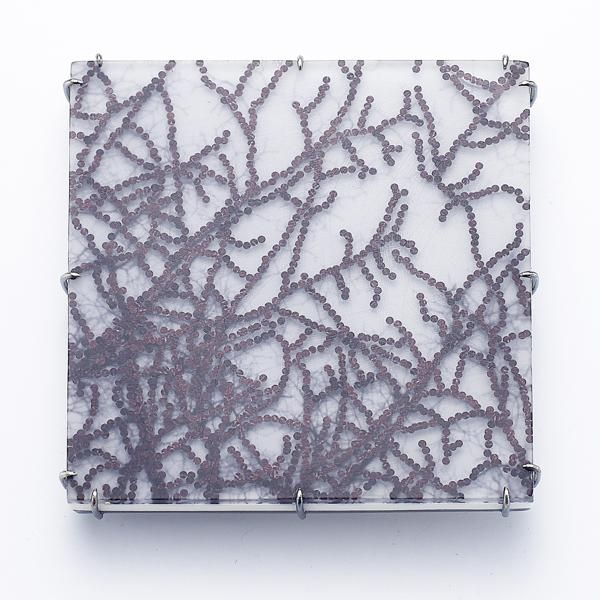 Sooyeon Kim, The Dawn of Trees in Providence #1, 2014, brooch, photograph paper, urethane resin, epoxy resin, glitter, oxidized sterling silver, 63.5 x 63.5 x 6.4 mm, photo: Myoungwook Huh (Studio Munch)